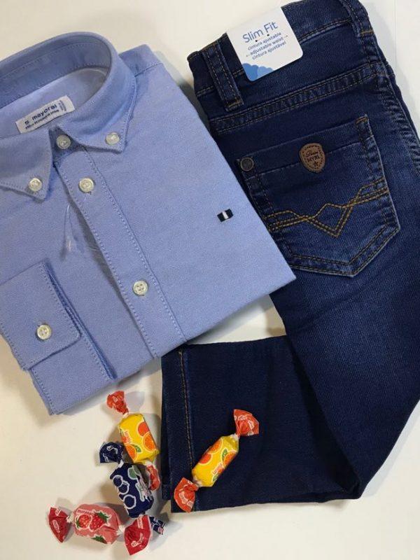 Look Para Menino Calça De Ganga Com Camisa Azul