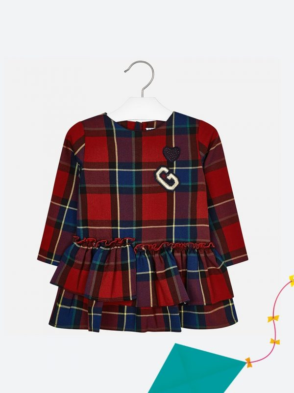 Vestido Para Criança, Quadrados Mayoral Vermelho