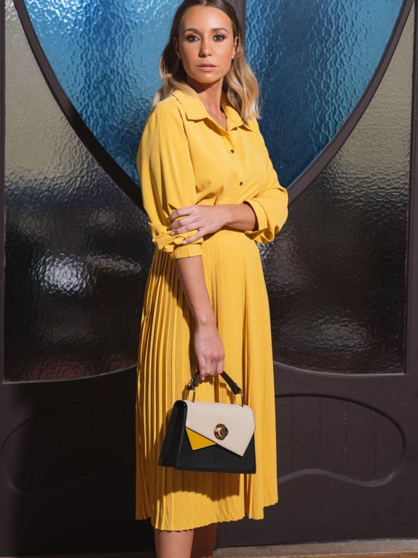 Vestido Amarelo Smf Plissado1